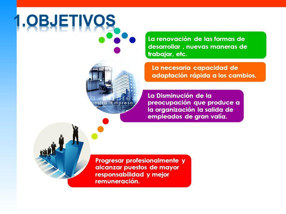 1.objetivos Progresar profesionalmente y alcanzar puestos de mayor responsabilidad y mejor remuneración.