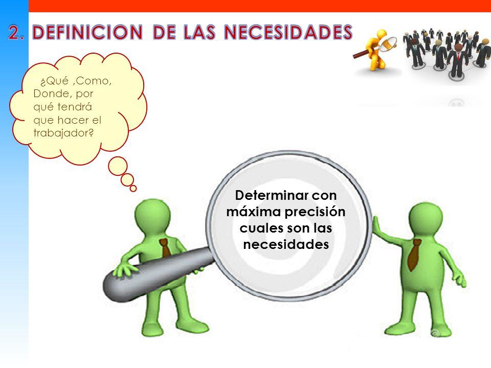 2. DEFINICION DE LAS NECESIDADES