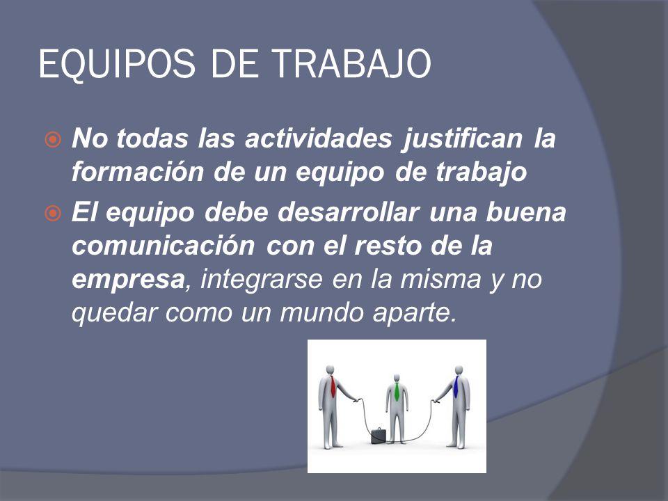 EQUIPOS DE TRABAJO No todas las actividades justifican la formación de un equipo de trabajo.