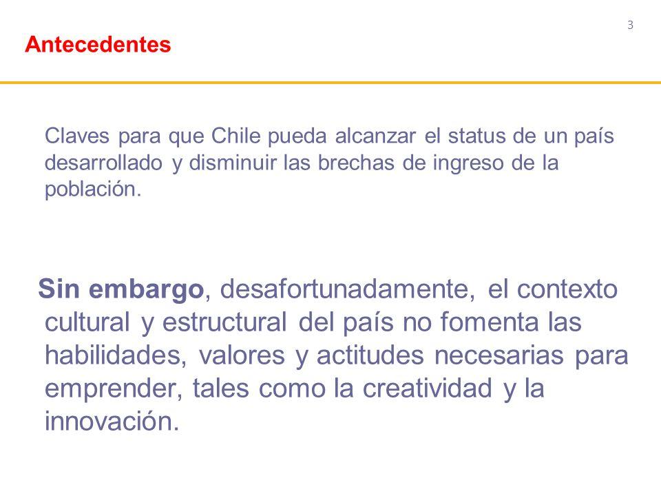 Antecedentes 3. Claves para que Chile pueda alcanzar el status de un país desarrollado y disminuir las brechas de ingreso de la población.
