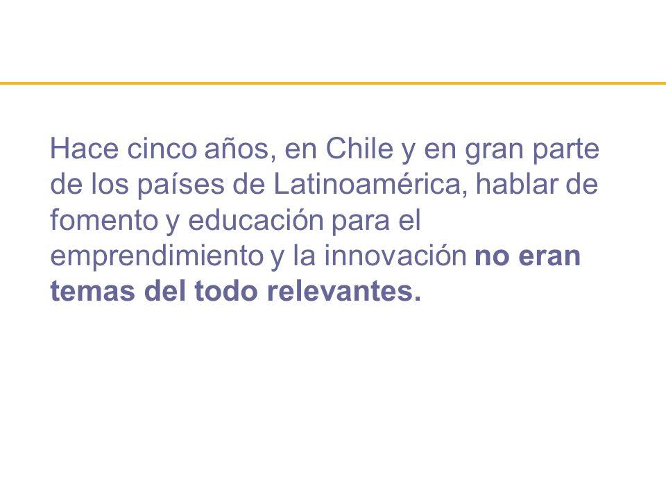 Hace cinco años, en Chile y en gran parte de los países de Latinoamérica, hablar de fomento y educación para el emprendimiento y la innovación no eran temas del todo relevantes.
