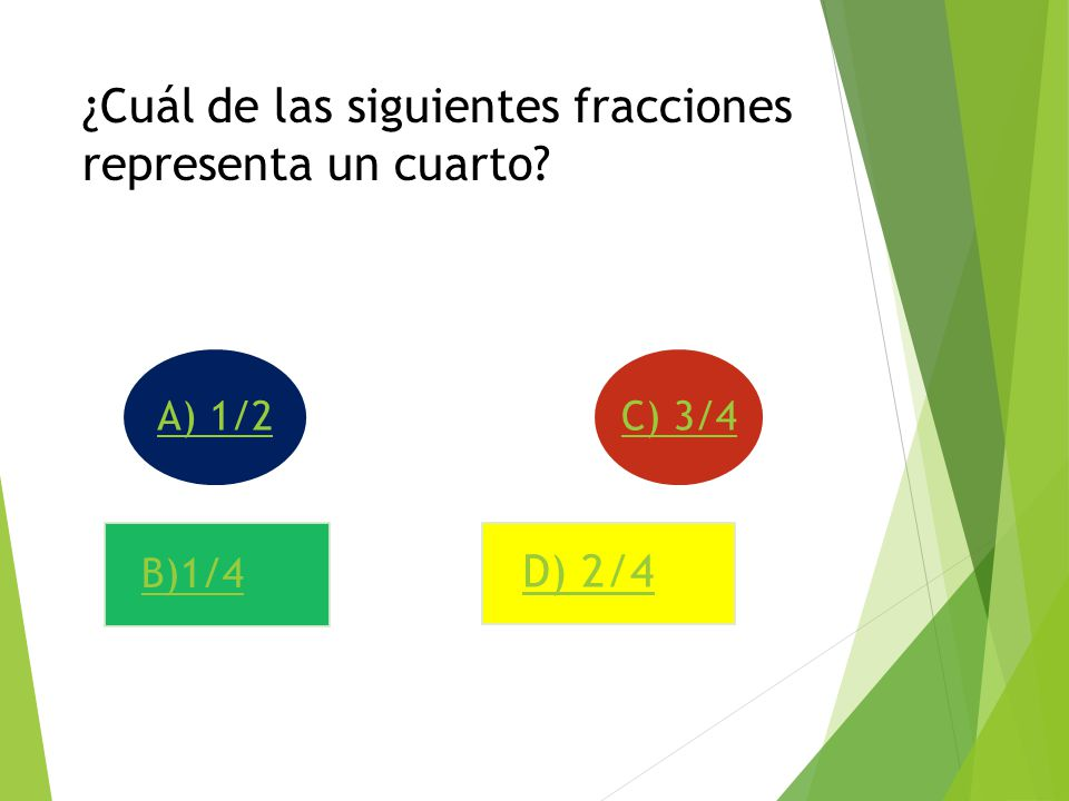 ¿Cuál de las siguientes fracciones representa un cuarto