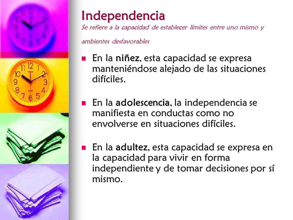 Independencia Se refiere a la capacidad de establecer límites entre uno mismo y ambientes desfavorables