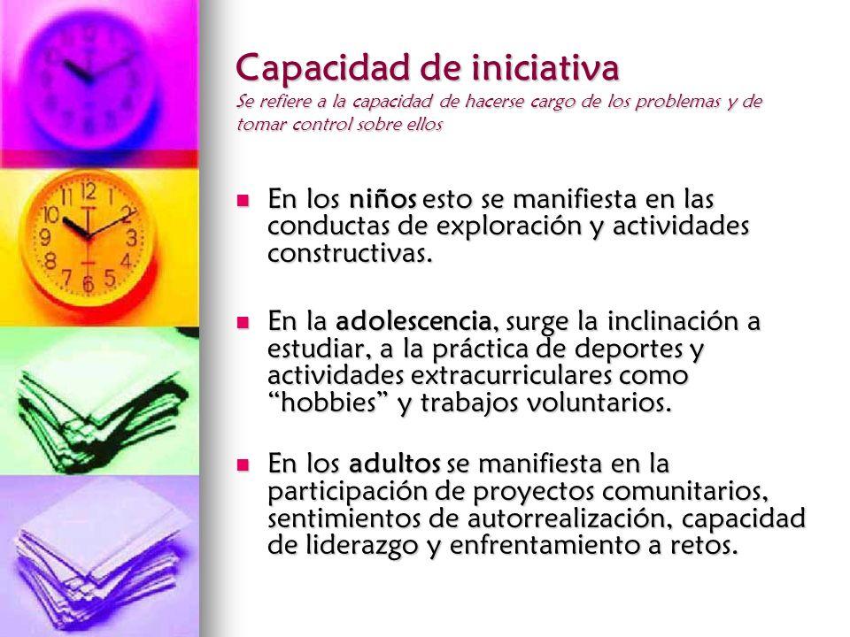Capacidad de iniciativa Se refiere a la capacidad de hacerse cargo de los problemas y de tomar control sobre ellos