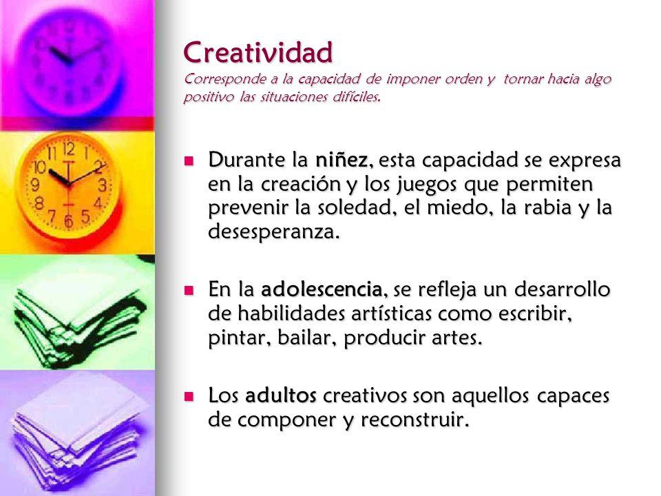 Creatividad Corresponde a la capacidad de imponer orden y tornar hacia algo positivo las situaciones difíciles.