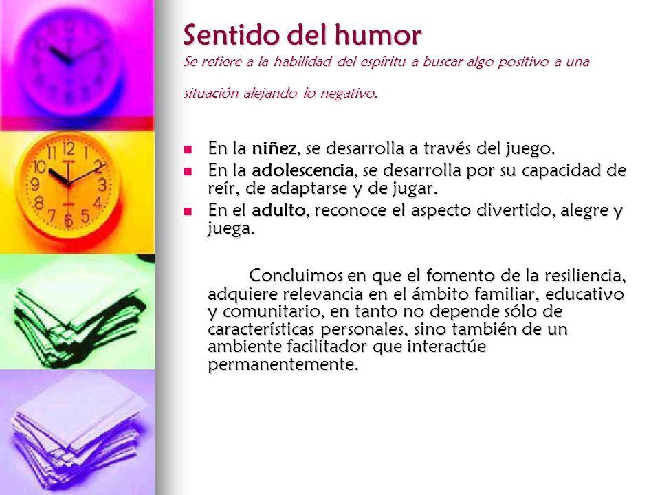 Sentido del humor Se refiere a la habilidad del espíritu a buscar algo positivo a una situación alejando lo negativo.
