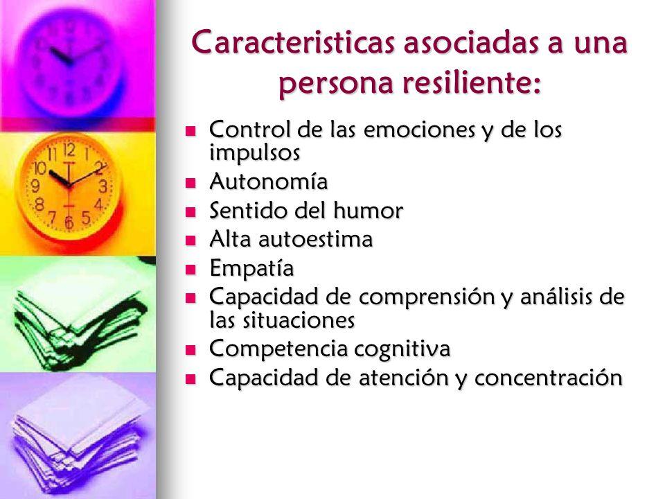 Caracteristicas asociadas a una persona resiliente: