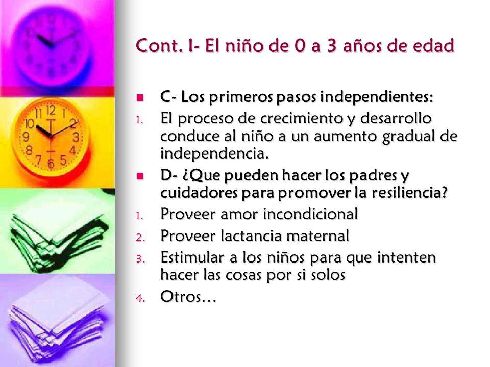 Cont. I- El niño de 0 a 3 años de edad