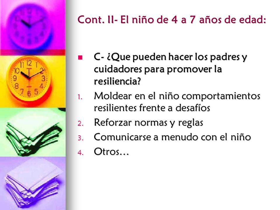 Cont. II- El niño de 4 a 7 años de edad: