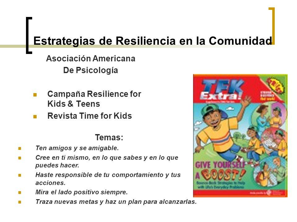 Estrategias de Resiliencia en la Comunidad