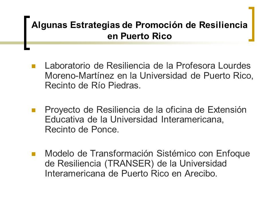 Algunas Estrategias de Promoción de Resiliencia en Puerto Rico