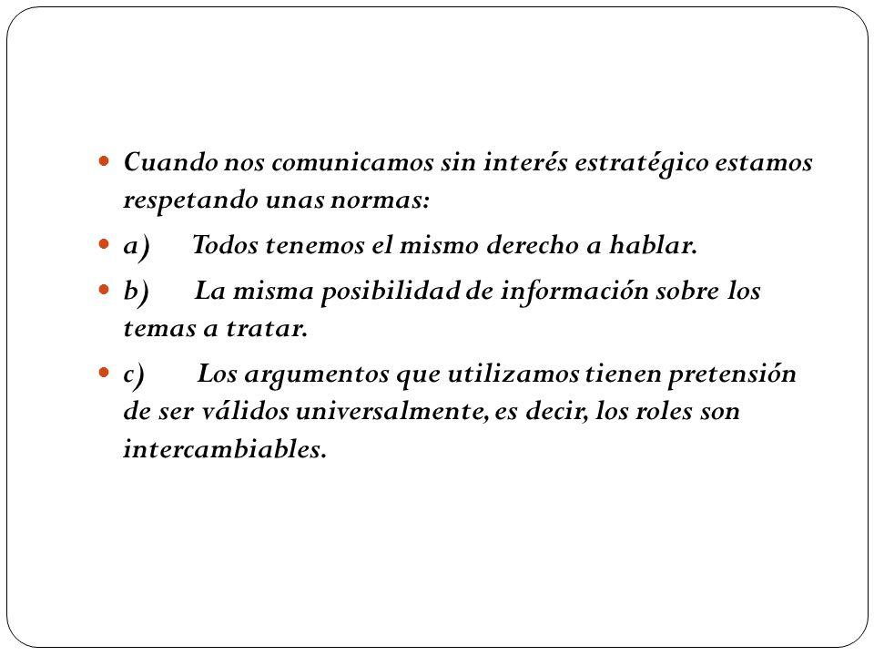 Cuando nos comunicamos sin interés estratégico estamos respetando unas normas: