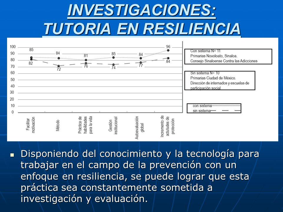 INVESTIGACIONES: TUTORIA EN RESILIENCIA