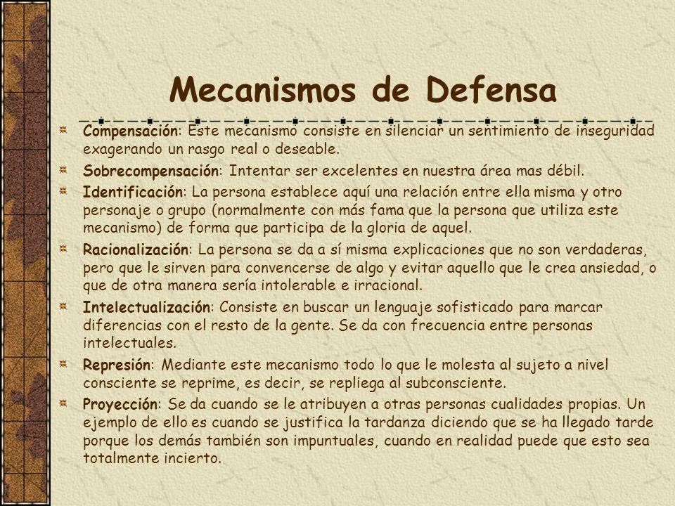 Mecanismos de DefensaCompensación: Este mecanismo consiste en silenciar un sentimiento de inseguridad exagerando un rasgo real o deseable.