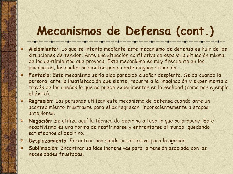 Mecanismos de Defensa (cont.)