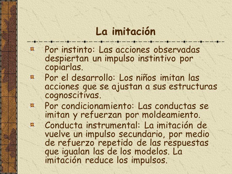 La imitaciónPor instinto: Las acciones observadas despiertan un impulso instintivo por copiarlas.