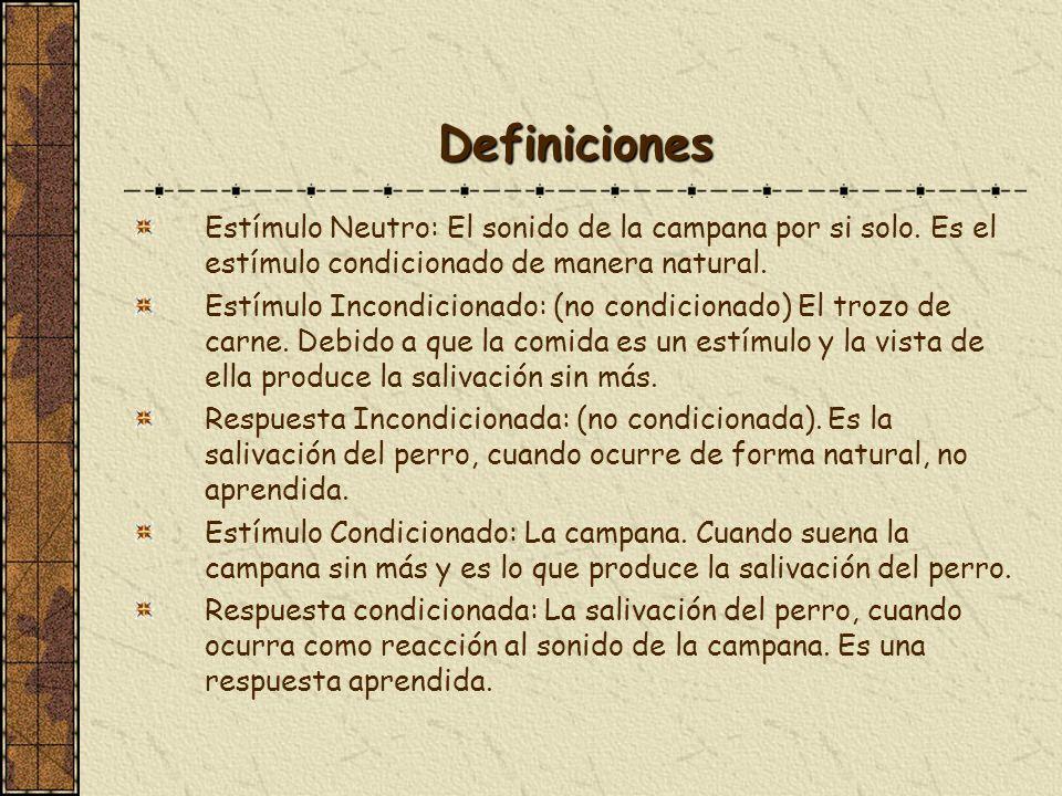 DefinicionesEstímulo Neutro: El sonido de la campana por si solo. Es el estímulo condicionado de manera natural.
