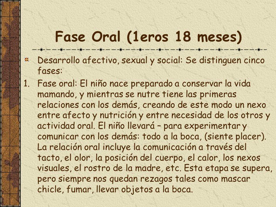 Fase Oral (1eros 18 meses) Desarrollo afectivo, sexual y social: Se distinguen cinco fases: