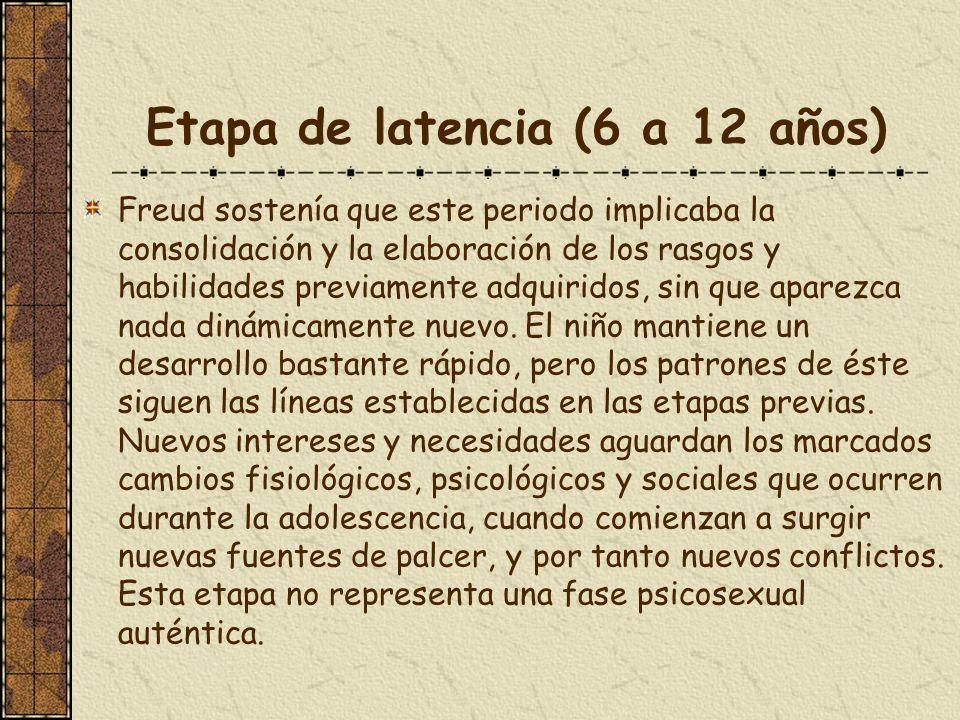 Etapa de latencia (6 a 12 años)