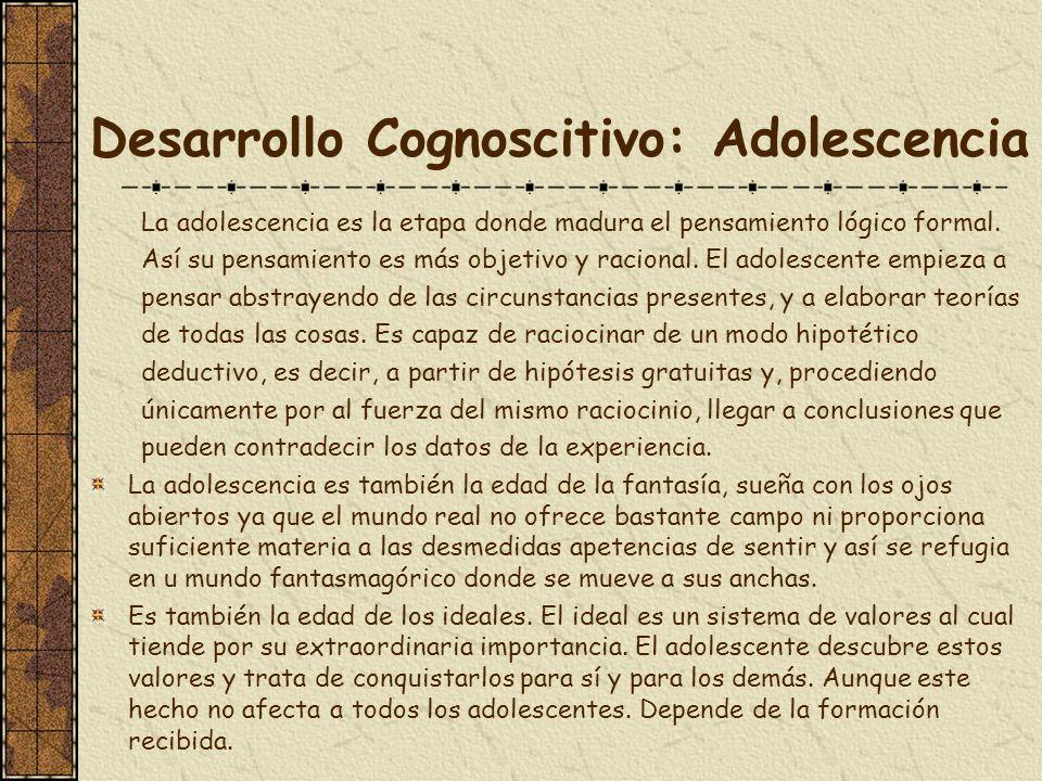 Desarrollo Cognoscitivo: Adolescencia