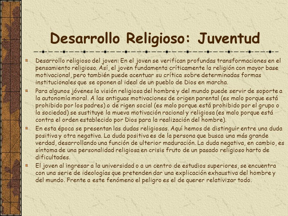 Desarrollo Religioso: Juventud