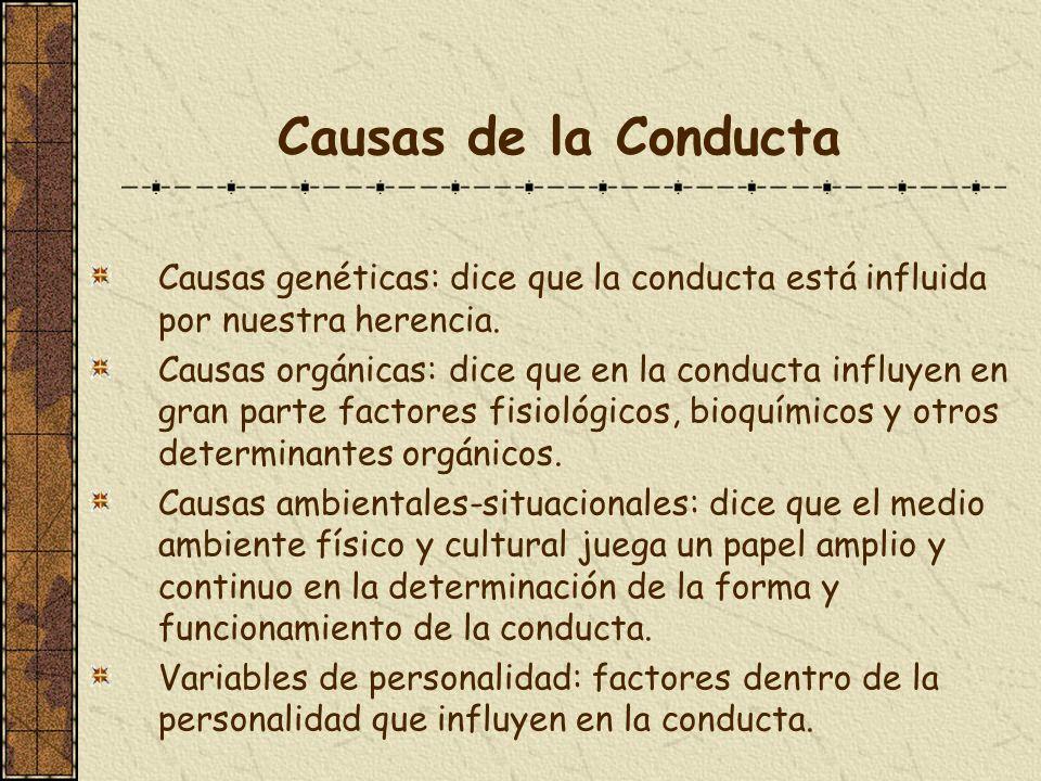Causas de la ConductaCausas genéticas: dice que la conducta está influida por nuestra herencia.