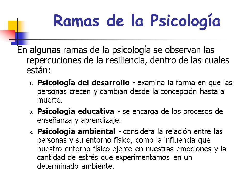 Ramas de la Psicología En algunas ramas de la psicología se observan las repercuciones de la resiliencia, dentro de las cuales están:
