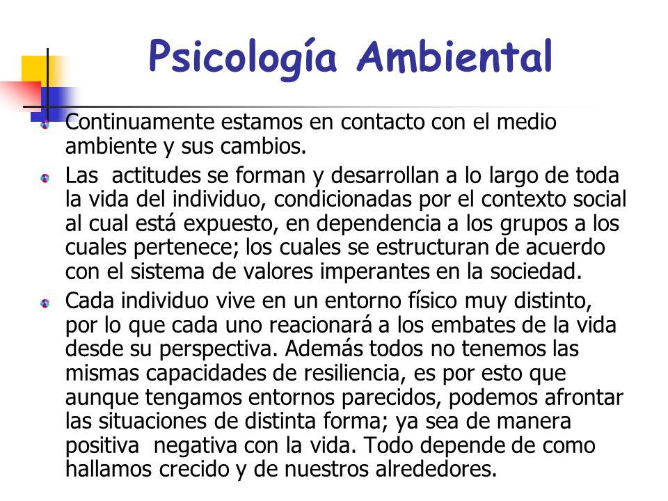Psicología Ambiental Continuamente estamos en contacto con el medio ambiente y sus cambios.