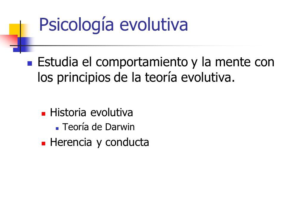 Psicología evolutiva Estudia el comportamiento y la mente con los principios de la teoría evolutiva.