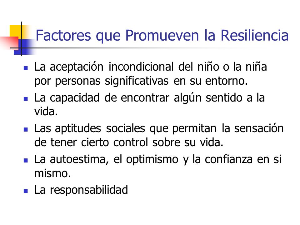 Factores que Promueven la Resiliencia