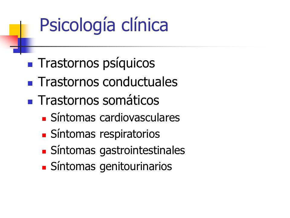 Psicología clínica Trastornos psíquicos Trastornos conductuales