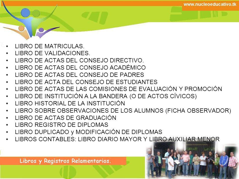 LIBRO DE MATRICULAS. LIBRO DE VALIDACIONES. LIBRO DE ACTAS DEL CONSEJO DIRECTIVO. LIBRO DE ACTAS DEL CONSEJO ACADÉMICO.