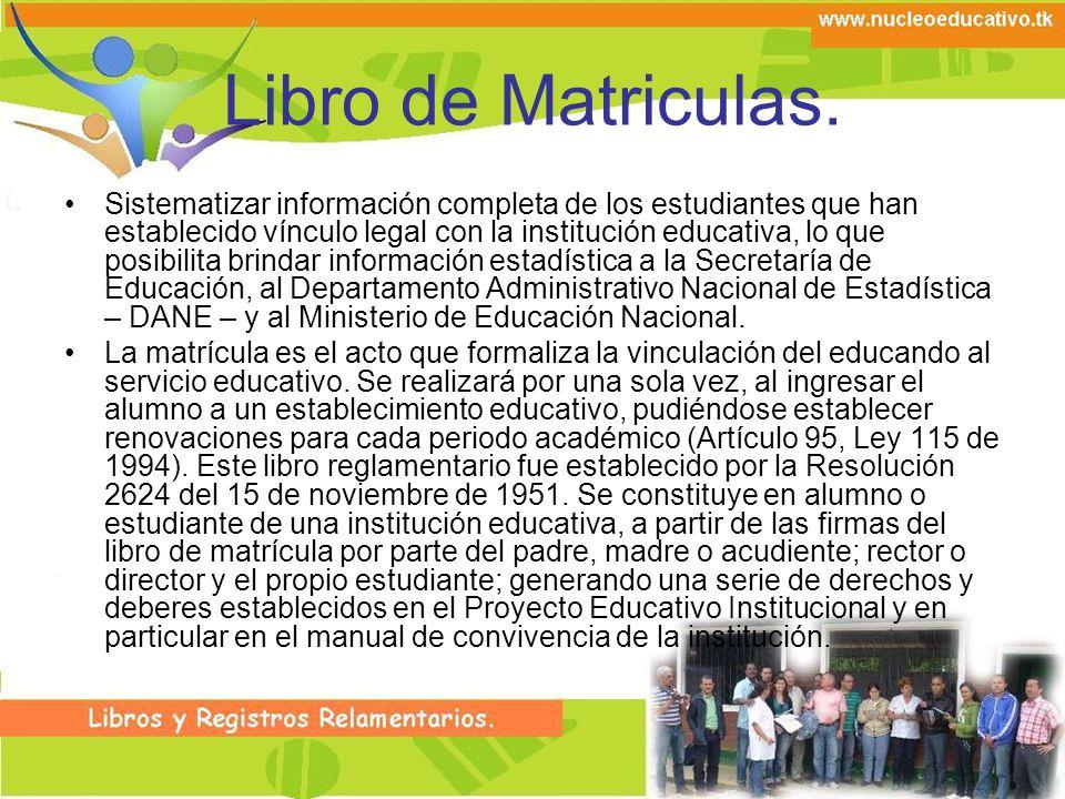 Libro de Matriculas.