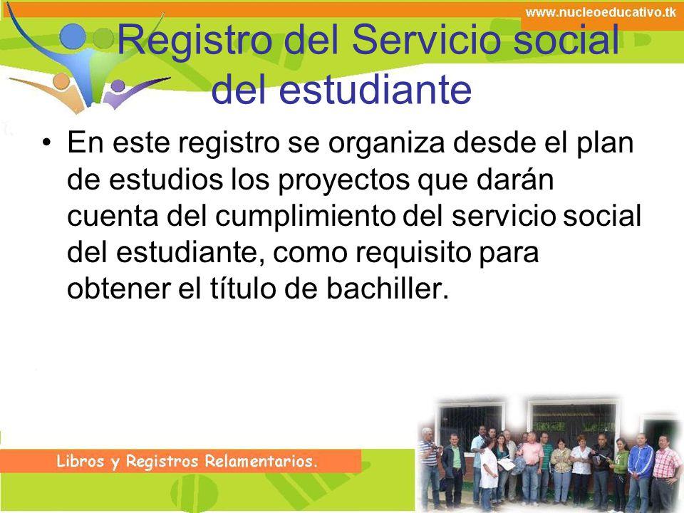 Registro del Servicio social del estudiante