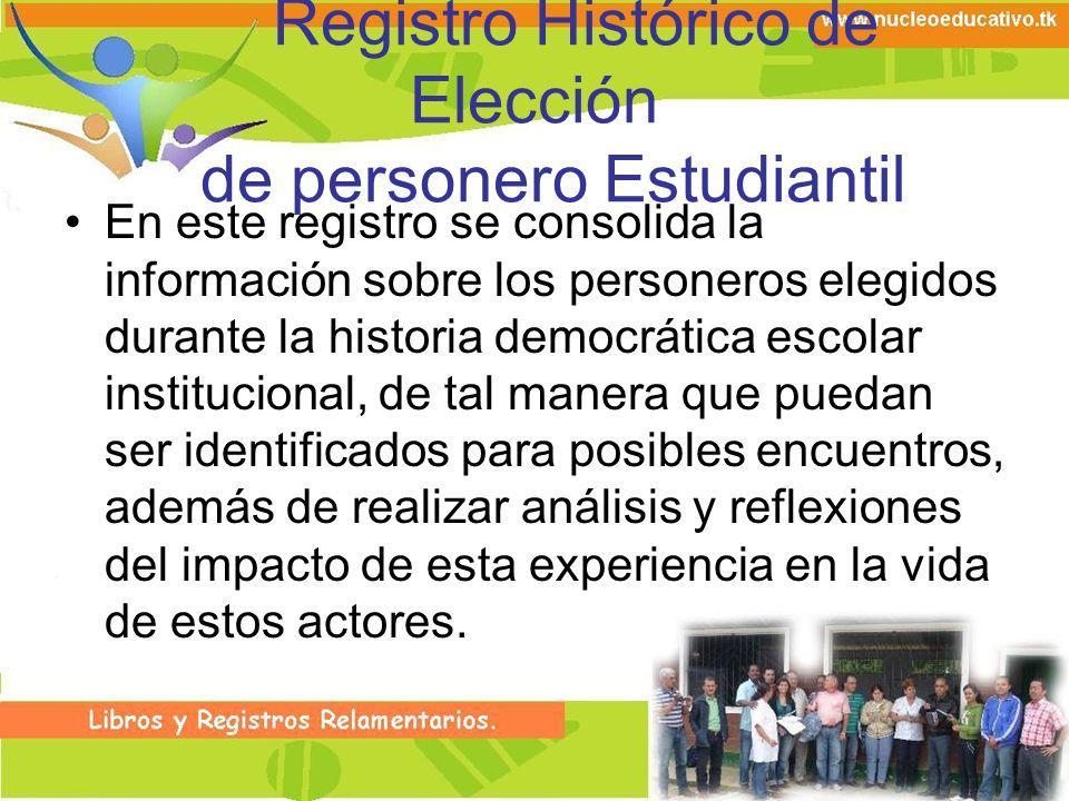 Registro Histórico de Elección de personero Estudiantil