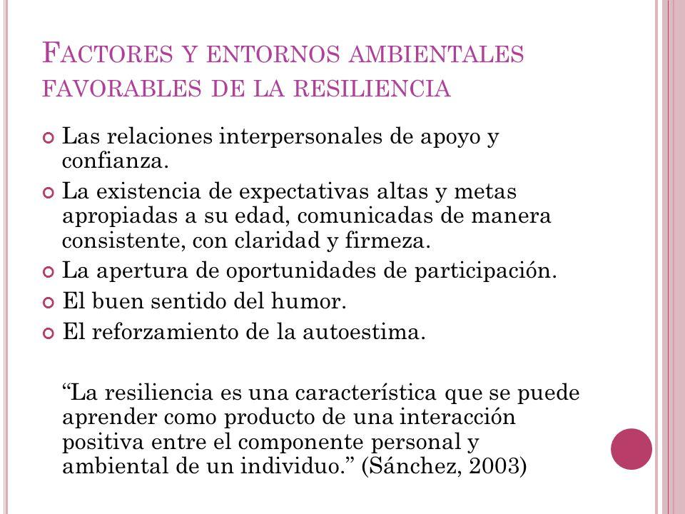 Factores y entornos ambientales favorables de la resiliencia