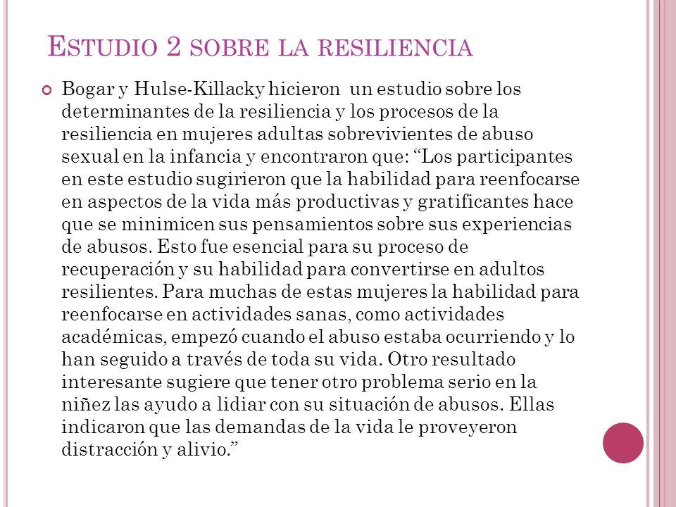 Estudio 2 sobre la resiliencia