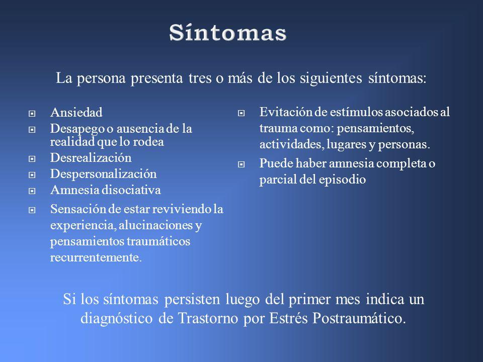 La persona presenta tres o más de los siguientes síntomas: