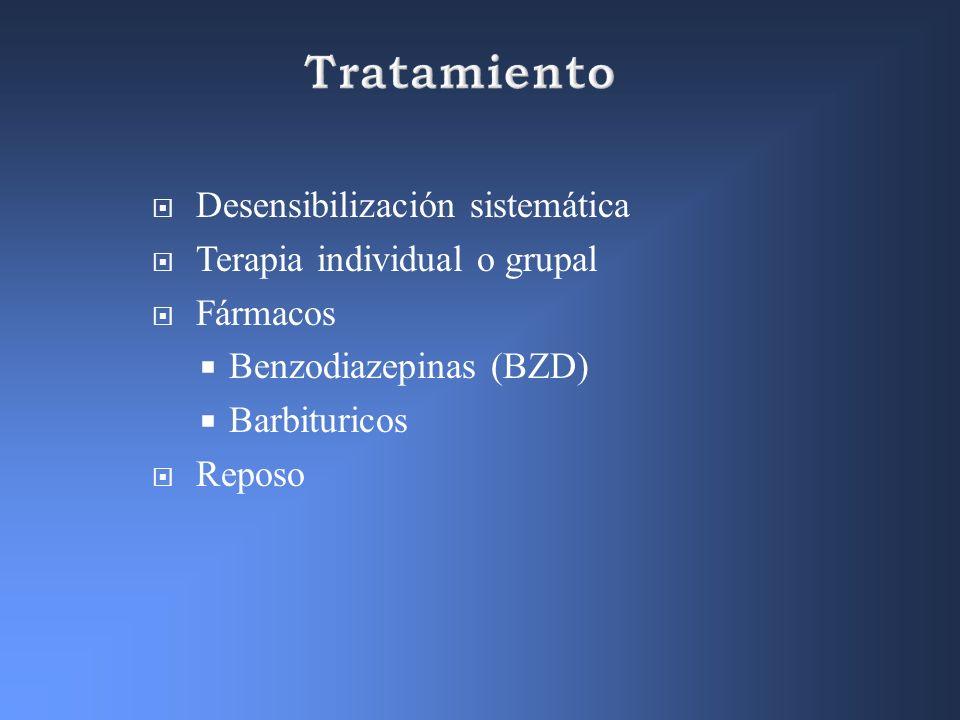 Tratamiento Desensibilización sistemática Terapia individual o grupal
