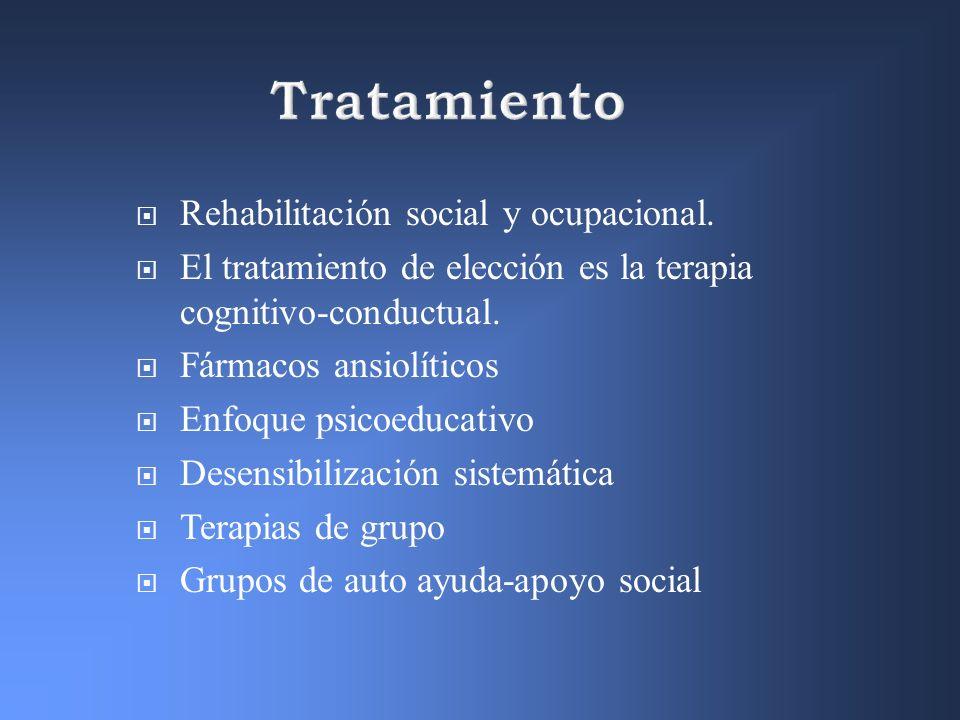 Tratamiento Rehabilitación social y ocupacional.