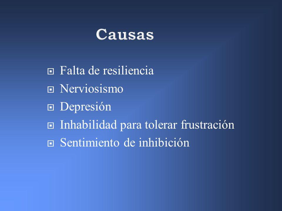Causas Falta de resiliencia Nerviosismo Depresión