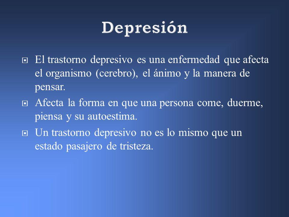 DepresiónEl trastorno depresivo es una enfermedad que afecta el organismo (cerebro), el ánimo y la manera de pensar.