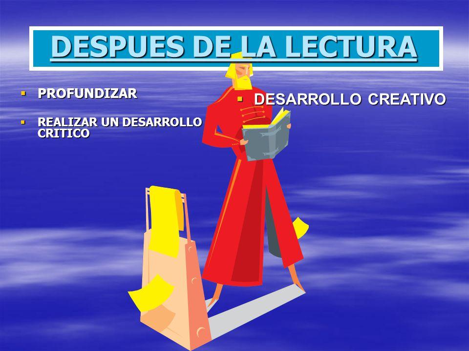 DESPUES DE LA LECTURA DESARROLLO CREATIVO PROFUNDIZAR