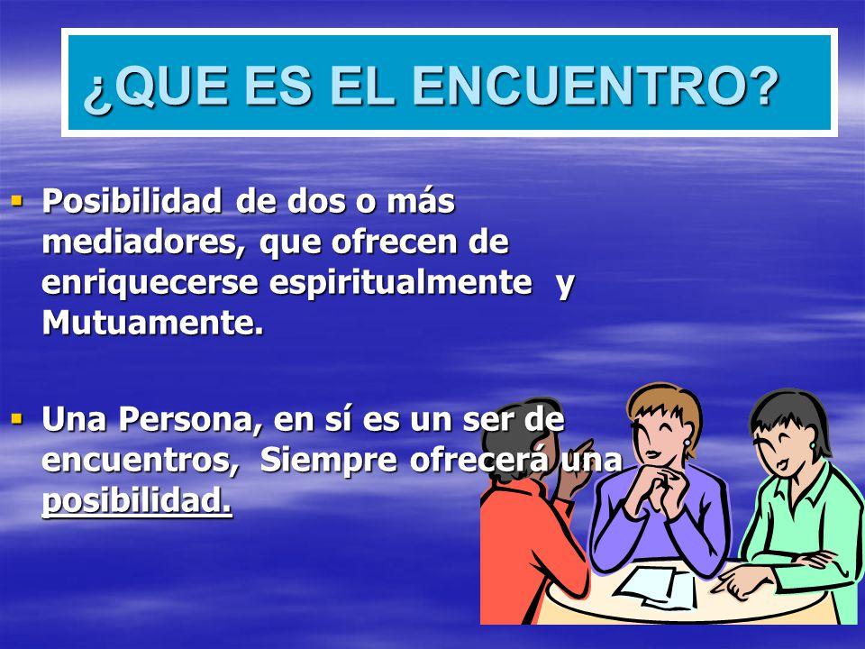 ¿QUE ES EL ENCUENTRO Posibilidad de dos o más mediadores, que ofrecen de enriquecerse espiritualmente y Mutuamente.