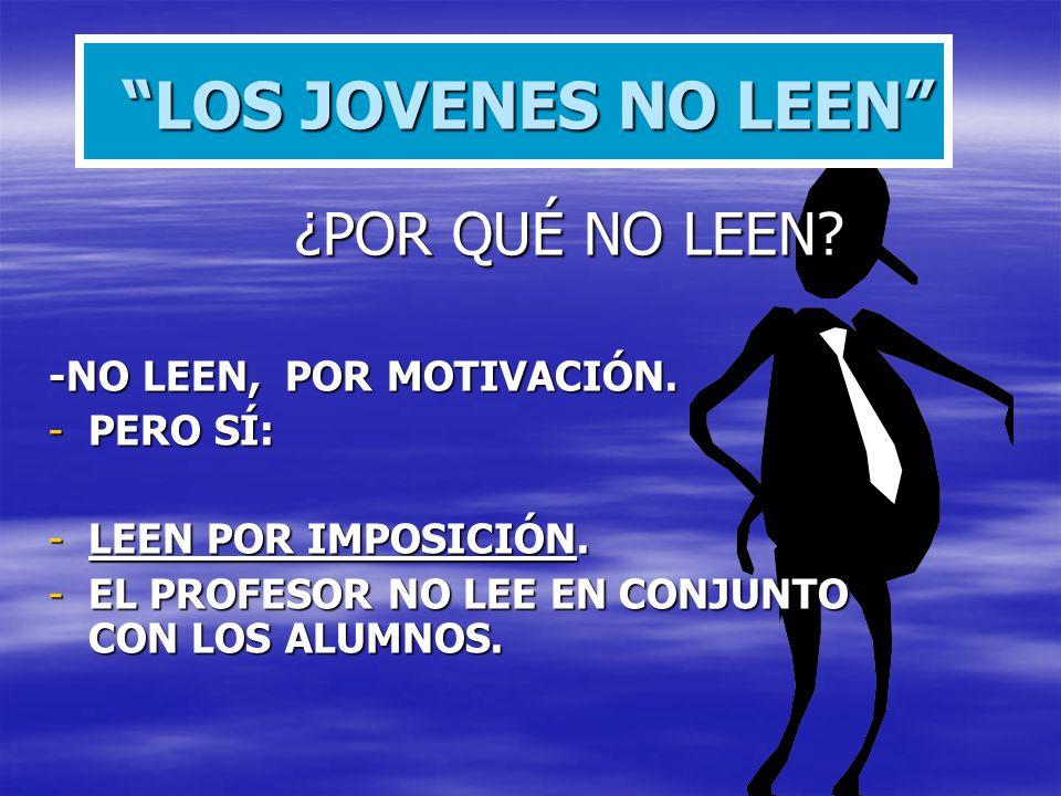 LOS JOVENES NO LEEN ¿POR QUÉ NO LEEN -NO LEEN, POR MOTIVACIÓN.
