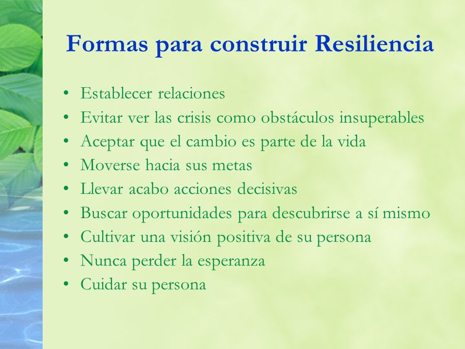 Formas para construir Resiliencia