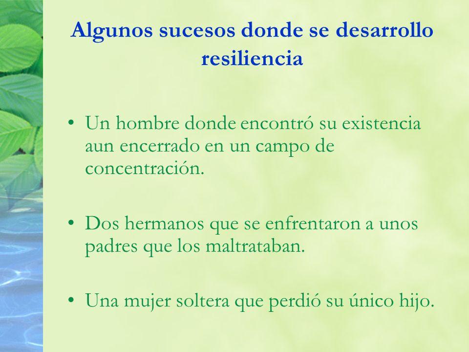 Algunos sucesos donde se desarrollo resiliencia