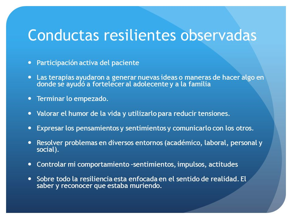 Conductas resilientes observadas