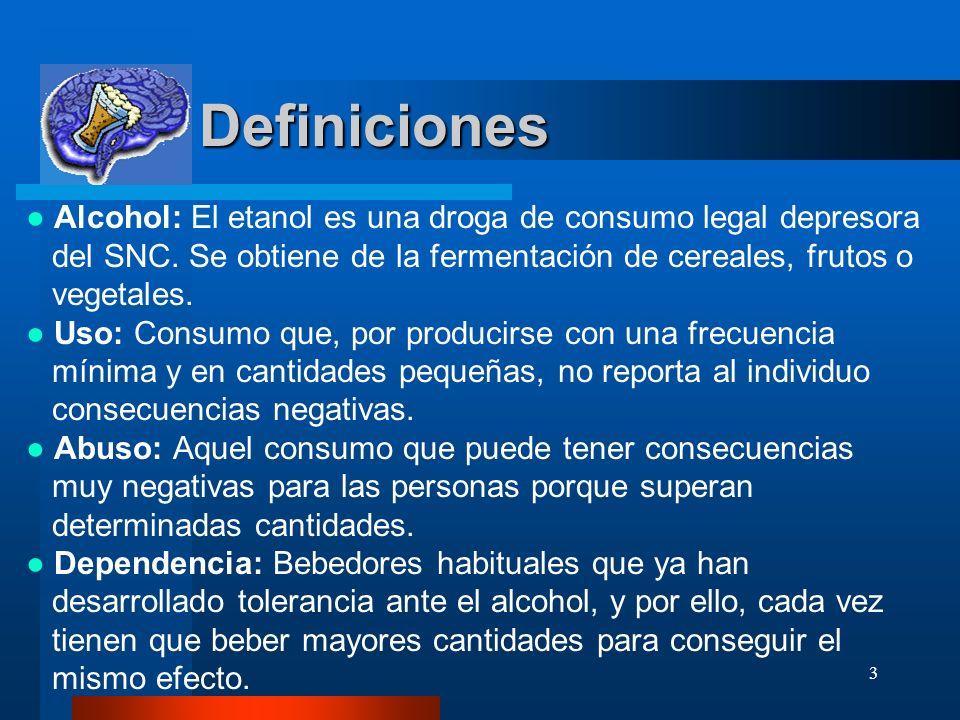 Definiciones ● Alcohol: El etanol es una droga de consumo legal depresora. del SNC. Se obtiene de la fermentación de cereales, frutos o.