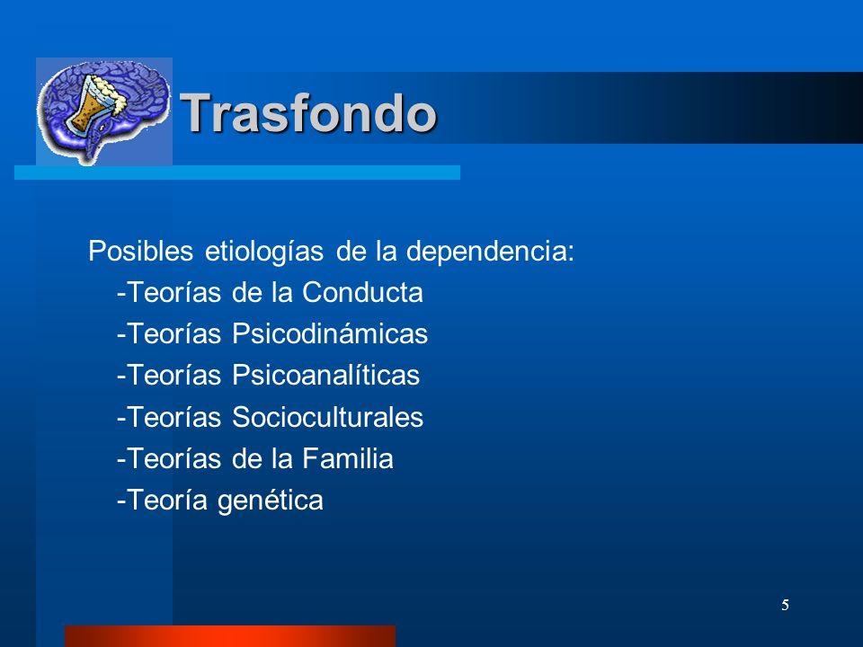 Trasfondo Posibles etiologías de la dependencia: